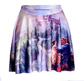 ABCHIC Girl's Printed Cartoon Batman Pleated Skater Skirt US Size 6-10 (Not Fit Kids)