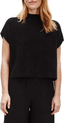 Eileen Fisher Funnel Neck Boxy Crop Sweater
