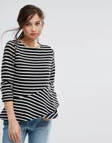 People Tree Organic Cotton Long Sleeve Top With Frill Detail In Stripe