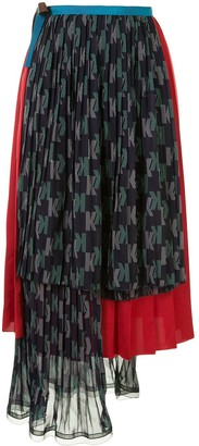 Kolor Contrast Pleated Skirt