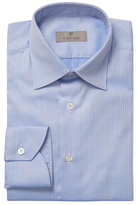 Canali Herringbone Striped Spread Collar Dress Shirt