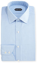 Tom Ford Slim-Fit Micro-Houndstooth Dress Shirt, Light Blue
