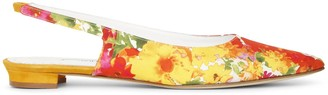 Manolo Blahnik Allura flat flower slingback flats