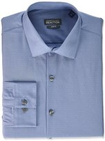 Kenneth Cole Reaction Men's Slim Fit Solid Dot Spread Collar Dress Shirt
