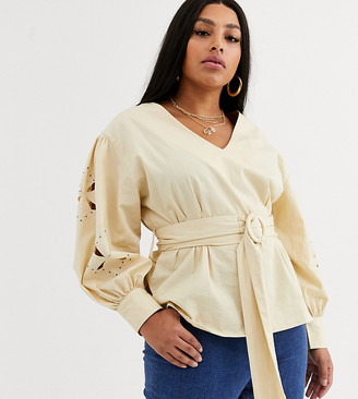 ASOS DESIGN Curve long sleeve top with cut out and embellished sleeve detail
