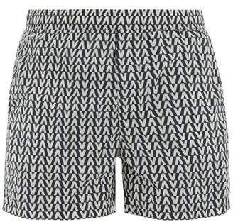 Valentino Optical-print Swim Shorts - Mens - Navy