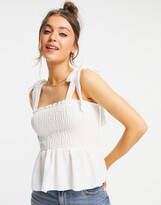 Thumbnail for your product : New Look shirred tie strap cami in off white