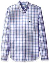 Lacoste Men's Long Sleeve Check Poplin Regular Fit Woven Shirt-CH5670