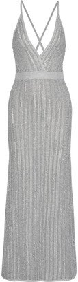 Herve Leger Distressed Metallic Ribbed Crochet-knit Gown