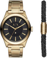 Armani Exchange Men's Nico Diamond-Accent Gold-Tone Bracelet Watch 44mm Gift Set