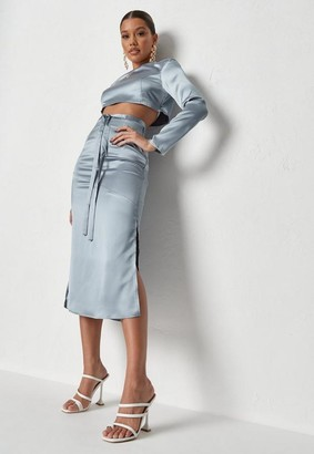 Missguided Blue Co Ord Satin Split Hem Midi Skirt
