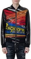 Dsquared2 Black Leather Multicolor Print Jacket