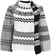 Nude zigzag roll neck sweater - women - Polyester/Viscose/Wool - 42
