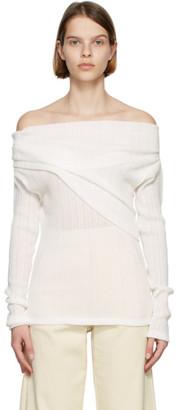 Nina Ricci White Off-The-Shoulder Long Sleeve T-Shirt