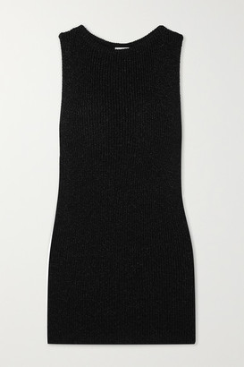 Saint Laurent Metallic Ribbed-knit Mini Dress - Black