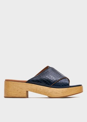 Rachel Comey Women's Serge Clog Shoes in Navy, Size 6 | Leather/Rubber