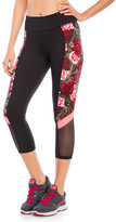 Betsey Johnson Performance Color Block Romantic Rose Cropped Leggings