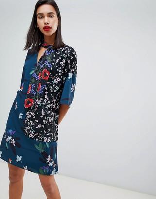 French Connection Celia Patchwork Floral Print Tie Neck Dress-Blue