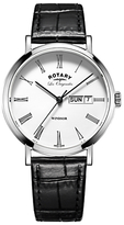 Rotary GS90153/01 Men's Les Originales Windsor Day Date Leather Strap Watch, Black/White