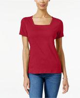 Karen Scott Square-Neck T-Shirt, Only at Macy's
