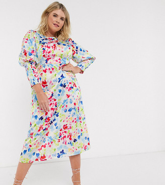 Never Fully Dressed Plus long shirred sleeve midi dress in contrast neon fleck print
