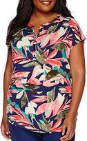 Liz Claiborne Dolman-Sleeve Floral Henley Shirt - Plus
