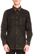 Givenchy Studded-Collar Faded Denim Shirt, Black