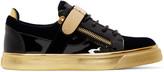 Giuseppe Zanotti Navy & Black Velvet London Sneakers
