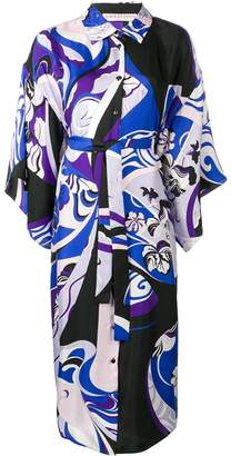 Emilio Pucci Hanami Print Beaded Collar Kimono Dress