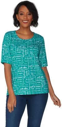Denim & Co. Perfect Jersey Word Print Elbow Sleeve Scoop Neck Top