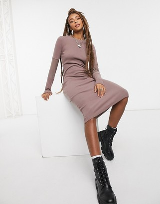 ASOS DESIGN super soft body-conscious midi with mesh insert sleeve dress in brown