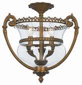 Crystorama Three-Light Brass Glass Ceiling Mount III