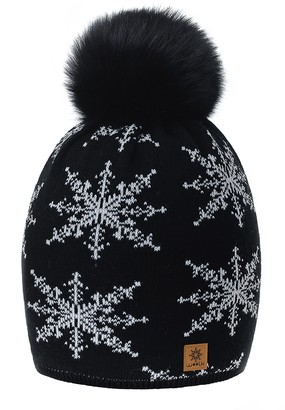 Romes Ltd Women Ladies Winter Beanie Hat Snowflakes Pom Pom Knitted Hats Fashion Ski Fleece Lining (Black Grey)