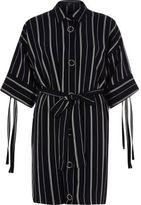 River Island Womens Navy stripe print eyelet shirt dress