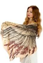 Shovava Silk & Cashmere Feather Wings Bohemian Scarf, Summer Shawl