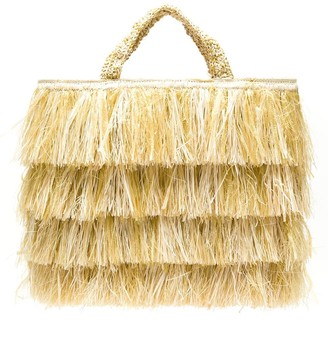 Serpui Marie Raffia Fringed Bag