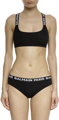 Balmain Cotton Jersey Elastic Band Bikini Briefs