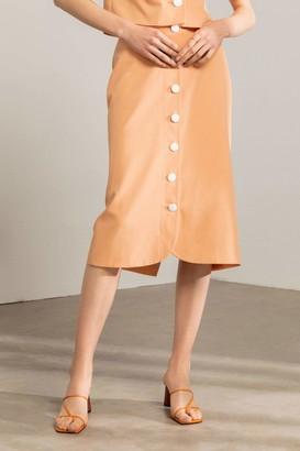 J.ING Janette Peach Button Midi Skirt