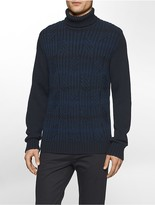 Calvin Klein Ombre Striped Cable Knit Turtleneck