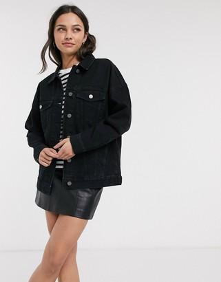 ASOS DESIGN oversized denim jacket in black