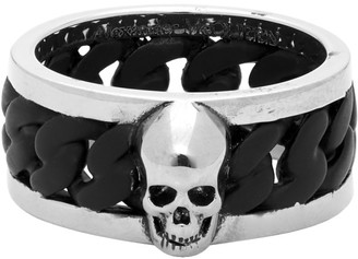 Alexander McQueen Silver and Black Bi-Color Chain Ring