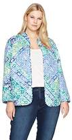 Alfred Dunner Women's Plus Size Scroll Patch Quilt Jacket