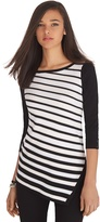 White House Black Market 3/4 Sleeve Asymmetrical Stripe Tunic Sweater
