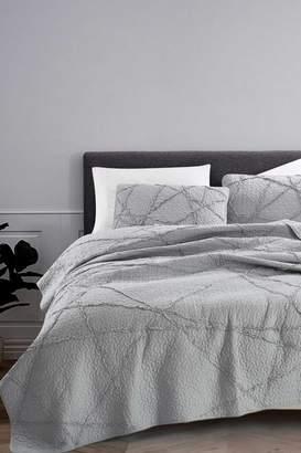 California Design Den Twin/Twin XL Crazy Ruffled Quilt Set - Light Gray
