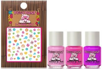 Piggy Paint Set of 3 Rainbow Party Nail Polish with Nail Art