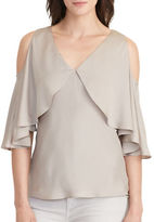 Lauren Ralph Lauren Jezdie Cutout-Shoulder Silk Blouse