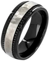 Ring Black Crucible Men's Titanium Plated Hammered Milgrain Ring - Black