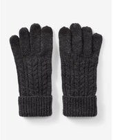 Express wool-blend cable knit gloves