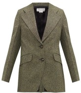 Victoria Beckham Jarvis Single-breasted Tweed Jacket - Womens - Green Multi