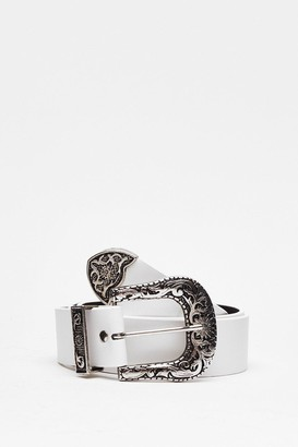 Nasty Gal Womens Never Second West Faux Leather Western Belt - White